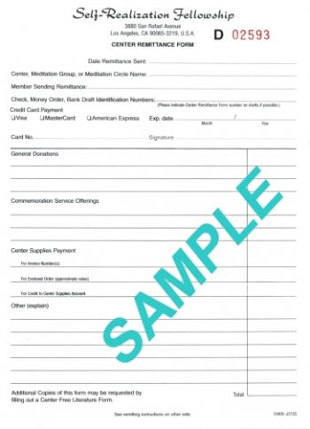 Sample Center Remittance form